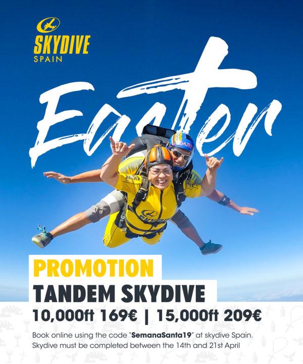 Easter tandem skydive spain promotion